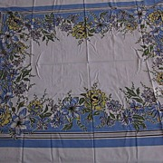 "1960's Linen, 50""x60"" Blue, Green, Yellow and White Tablecloth"