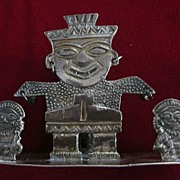 Peruvian .900 Silver  Figural Tooth Pick Holder