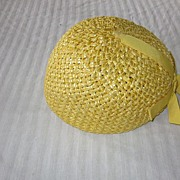 Flapper Style Yellow Woven Straw Cloche