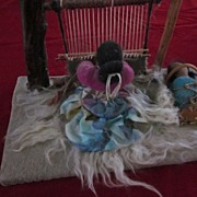 SOLD Navajo Loom and Weaver Doll with Papoose Diorama