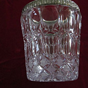Cut Crystal and Silver Plate Egg and Dart Pattern Ice Bucket