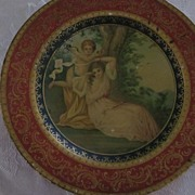 Vienna Art Plate in Tin, Allegorical, Cupid and Seated Lady
