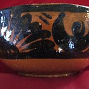 Tlaquepaque Glazed Redware Bowl with Black Decoration