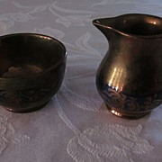 Copper Lustre with Decorated Blue Band Creamer and Open Sugar