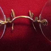 Gold Pince Nez Rimless Spectacles with Chain and Ear Clip