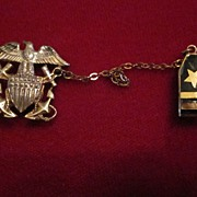 WWII US Naval Officer's Sweetheart Pin, Navy Emblem and Lt Strap