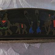 Brass and Enamel Bridge Card Holder with Indian Elephant Parade