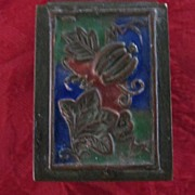 "Chinese Embossed Brass Enamel Stamp Box, 1 1/8""X1 1/2""X 1 1/4"""