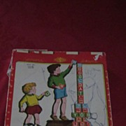 Halsam Hi-Lo Safety Blocks, #3230, 30 Alphabet Blocks, Orig Box