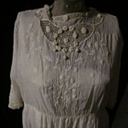 Victorian White Tea Dress, or Slip, with Delicate Lace Trim