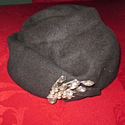 Glenover Wool Felt Hat with Large Rhinestone Pin