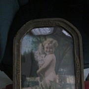 Cute/Odd Hand Tinted Photo of Curly Haired Cherubic Naked Girl