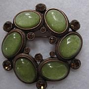 Green Cabochon, Amethyst Rhinestone Round Pin
