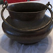 Hand Made Hammered Copper Pot with Original Dark Patina
