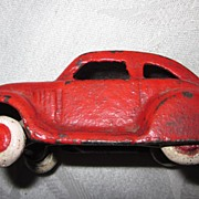 Vintage Cast Iron Red Coupe