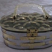 Metal Basket Weave Oval Purse w Carved Clear Lucite Top, Handle