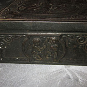 Rectangular Metal Cigarette/Trinket Box with Cherub Decoration