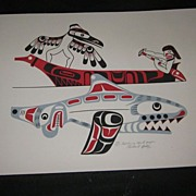 "Richard Hunt, Kwakiutl Signed Numbered Print ""Gathering Sandpaper"""