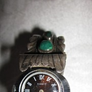 Ladies Silver Turquoise Coral Cuff Watch Band
