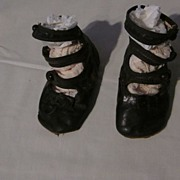 Babies Victorian, High Top, Button, Black Leather Shoes