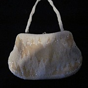 Richere Faux Seed Pearl and Bugle Bead Purse
