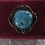 Navajo Style Turquoise Ring, Size 6