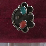 Sterling Silver, Turquoise, Coral Navajo Style Ring, Size 6