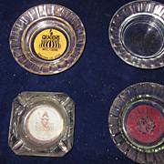 Vintage Casino Ashtrays, Glass, Set of 4