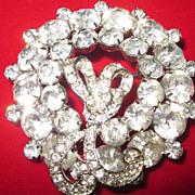 Weiss Large Crystal Rhinestone Brooch , Wreath with Bow