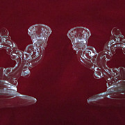 Cambridge Glass Pair  2 Light Keyhole Engraved Candle Holders