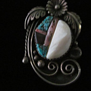 "Navajo Alton Y. Bedonie Turquoise Sterling Pendant with 22"" Chain"