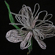 Glass Bugle Bead Orchid Decoration