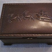 Metal Trinket Box with Santa and his Sleigh