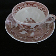 """""""The Red Derby"""" , Buffalo China, Red Willow Cup & Saucer"""