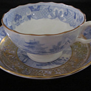 Davenport Light Blue and Gold Willow Variant Cup and Bowl/Saucer