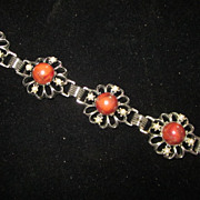 """Mexican Silver Coral and Pearl Link Bracelet, 7 3/4"""""""