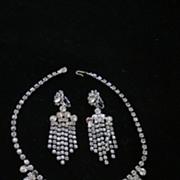Clear Rhinestone Demi Parure, Waterfall Necklace, Drop Earrings
