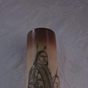 Victorian Milkglass Souvenir Vase with Indian Portrait