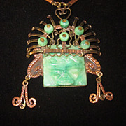 Mexican Jade and Copper Pendant Necklace