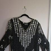 Black Silk and Sequins Judith Ann Plus Cocktail Dress/Top, 3X