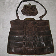 Genuine Victorian Hornback Alligator Purse and Matching Coin Purse