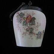 Satin Glass, Hand Painted Biscuit Jar Van Bergh Silver Plated Fittings