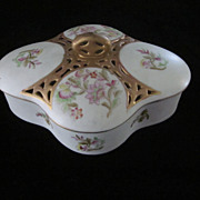 Hand Painted Quatrefoil Covered Vanity Dish