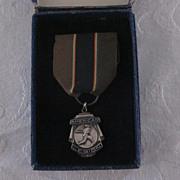 Vintage Sterling American Legion Baseball Medal with Ribbon, Box