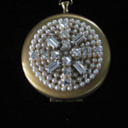 Pocket Watch Compact with Faux Pearls and Rhinestones Pendant