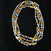 Victorian Yellow and Black Glass Sautoir, 72""
