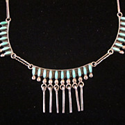 "Zuni Petit Point Silver and Turquoise 18"" Necklace"