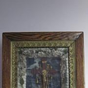 Victorian Hispanic Nicho, Oak Frame Shadowbox, Crucifix Vignette