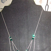 Sterling Silver and Cut Green Crystal Festoon Art Nouveau Necklace