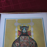 Colorful Contemporary Fat Cat Framed Lithograph